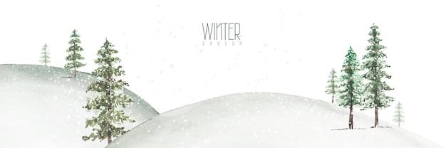 冬の水彩画の手描き。雪の斜面に自然の緑の針葉樹と風景の背景。