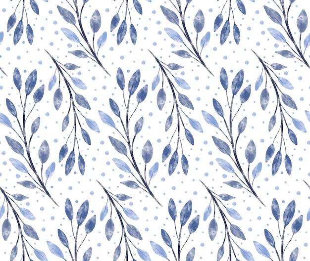 枝と冬の水彩テクスチャー青い花のシームレスなパターンの背景は雪片を残します