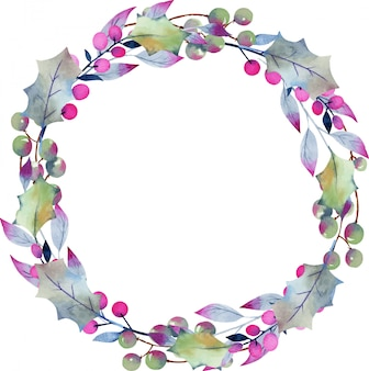 Winter watercolor wreath of holly tree leaves and berries