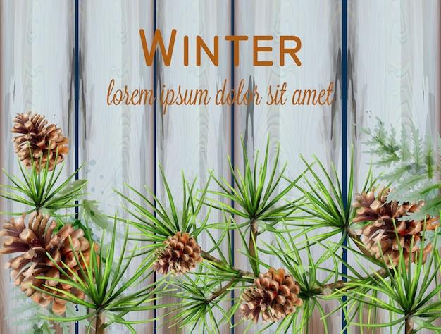 Winter watercolor wreath