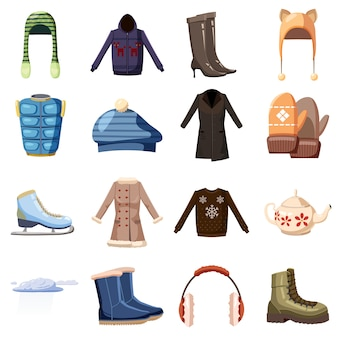 Winter wear icons set, cartoon style