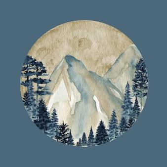 Зимний дикий лес горы, акварель дикая природа пейзаж