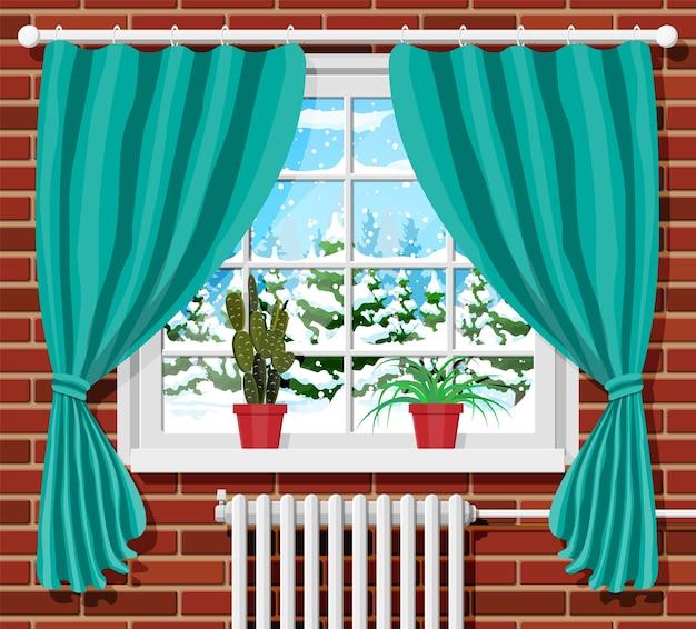 Зимнее окно с занавесками и вид из комнаты