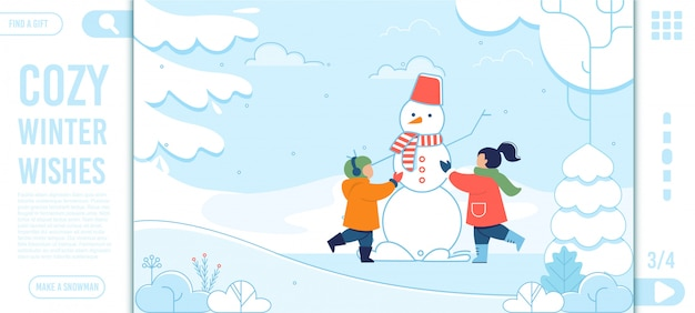 Winter wishes text and happy kids landing page