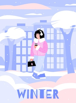 Зима с мультипликационной девушкой, идущей с кофе на вынос на снегу.