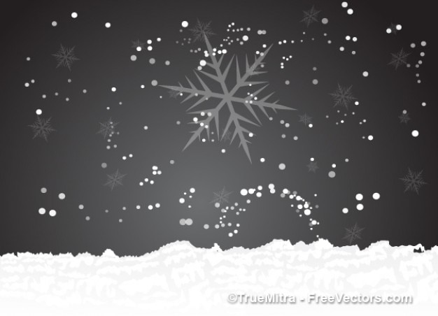 Winter with snowflakes background