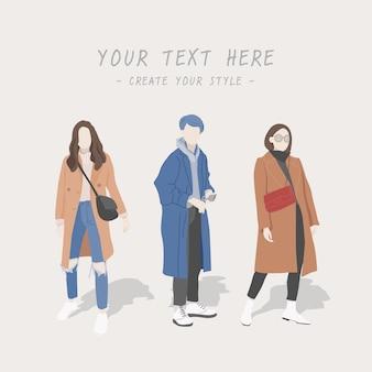 Зимний женский стиль, милые персонажи и модные.
