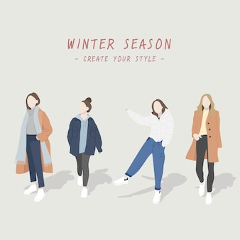 Winter women style, cute characters, and fashionable.