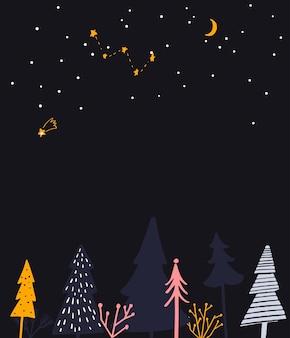 겨울 원더랜드 그림입니다. 밤 숲, 인사말 텍스트 및 계절 이벤트 초대 장소.