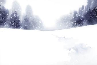 Winter wonderland landscape painted by watercolor vector