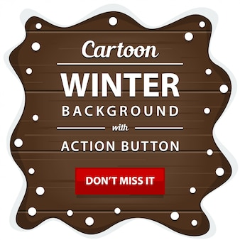 Winter wooden board with snow pile frame border banner