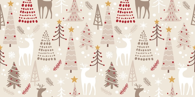 Winter woodland seamless pattern for decoration
