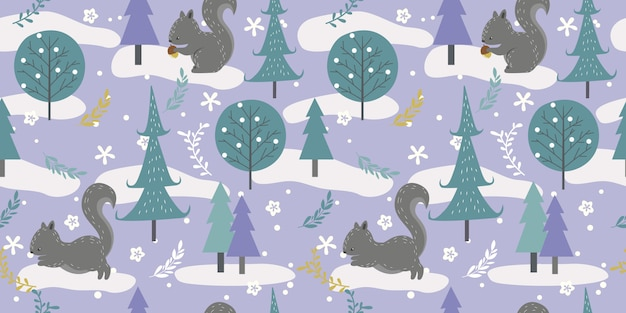 Winter woodland in seamless pattern