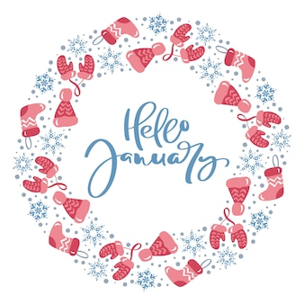 Winter wreath with phrase