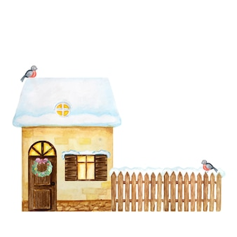 Winter yellow house, brown wooden fence with snow and bullfinch bird couple. watercolor front view.