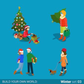 Зимние молодые счастливые люди семейный набор плоская изометрия изометрическая концепция веб-иллюстрация любящая молодая пара девушка подарок развернуть собаку выгуливает ель ель творческая коллекция зимних праздников