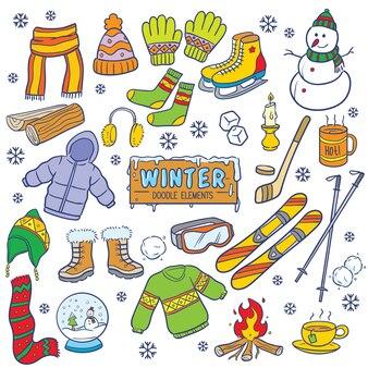 Winters doodle elements