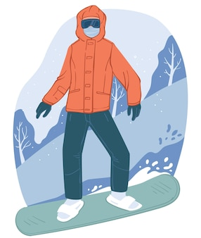 Wintertime active lifestyle and activities in resort. snowboarder going down slope, extreme sports and relaxation, snowboarding hobby. people equipped with snowboard and clothes. vector in flat style