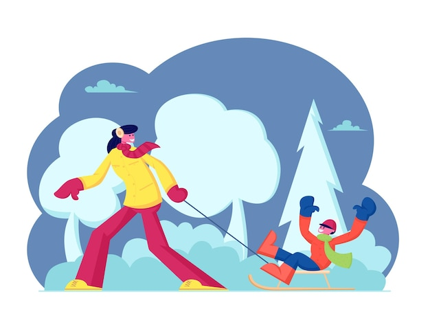 Wintertime activity. happy family mother and son enjoying sled riding in winter park with snow hills. cartoon flat illustration