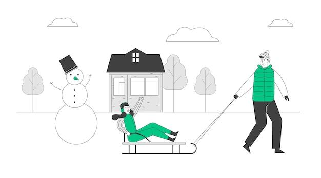 Зимняя активность в рисованной