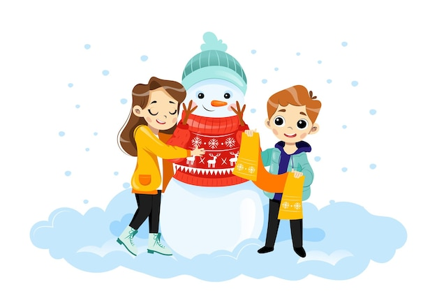 Wintertime scene vector illustration in cartoon flat style with characters. male and female children hugging smiling snowman in jumper and hat. colourful merry christmas kids placard with gradients.