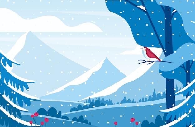 冬の風景フラット。雪に覆われた谷。冬の森の赤い鳴き鳥。