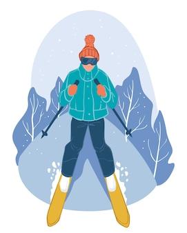 冬のスポーツやアウトドアアクティビティ、冬に坂を下る孤立した人物。山でのスキー。季節のアクティブなライフスタイルとレジャー。休日と休息。フラットスタイルのベクトル