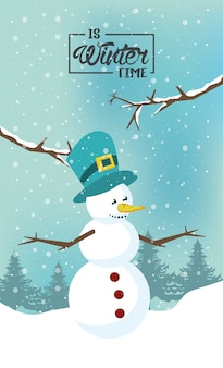 Wintertime with snowman and forest scene