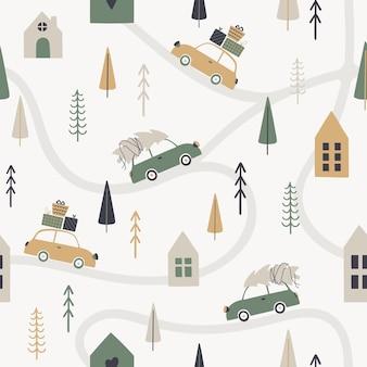 Зимний сезон бесшовные модели в скандинавском стиле. иллюстрация ретро-автомобилей с подарками и елкой. векторный шаблон для открыток, плакатов, оберточной бумаги, текстиля, обоев.