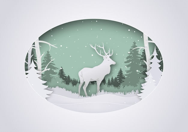 Wintry paper art xmas greeting with deer in forest
