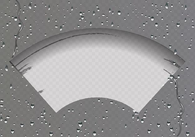 와이퍼가 유리를 청소합니다. 투명에 비와 눈.