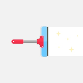 Wiper tool icon flat design. squeegee or cleaning brush glass window. vector eps 10. Premium Vector