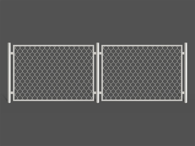 Wire fence isolated on grey background. silver colored metal chain link mesh.