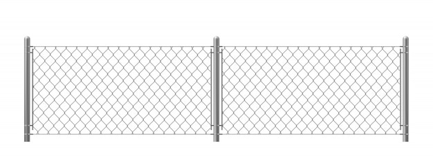 Wire fence isolated on white background.
