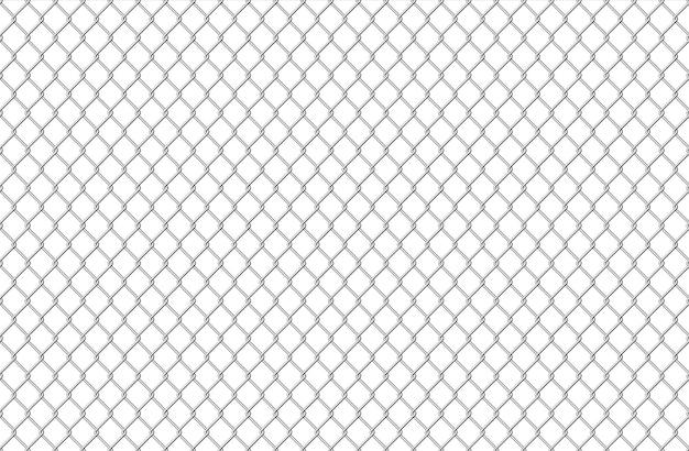 金網パターン。シームレスなスチールテクスチャの背景、白で隔離のリアルなチェーンリンク安全柵。ベクトルイラストワイヤーメッシュスチールグリッド。金属建設刑務所