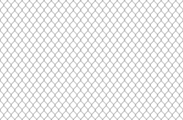 Wire fence pattern. seamless steel texture background, realistic chainlink safe fence isolated on white. vector illustration wire mesh steel grid. metal construction prison