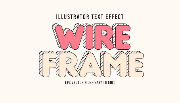 Wire frame text style editable vector eps text effect