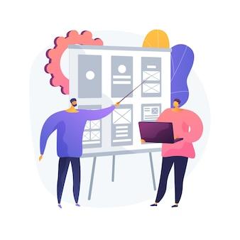 와이어 프레임 추상적 인 개념 그림입니다. 웹 페이지 레이아웃, 인터페이스 요소, 웹 사이트 탐색, 화면 청사진, 비주얼 가이드, 비즈니스 분석가, 사용자 경험, 스케치