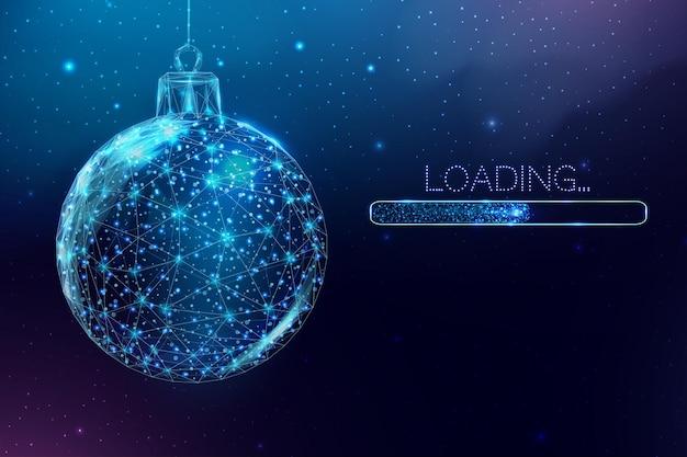 와이어프레임 크리스마스 공 및 로딩 바, 로우 폴리 스타일. 기쁜 성 탄과 새 해 배너입니다. 추상적인 벡터 일러스트 레이 션.