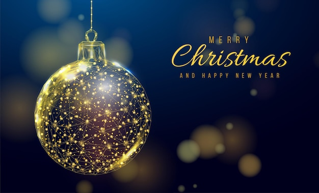 Wireframe christmas gold ball, low poly style. banner for the concept of christmas or new year with a place for an inscription. abstract modern 3d vector illustration on blue background.