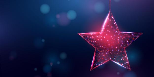 Каркасная рождественская звезда, низкий стиль поли. баннер для концепции рождества или нового года с местом для надписи. абстрактные современные 3d векторные иллюстрации на синем фоне.