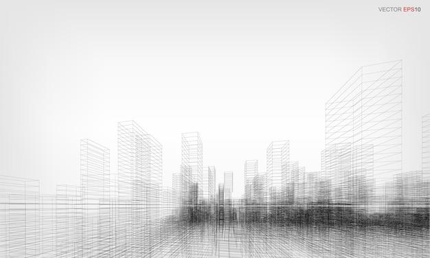 ワイヤーフレーム都市の背景。建物のワイヤーフレームの遠近法による3dレンダリング。ベクトルイラスト。
