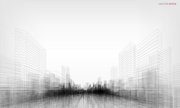 와이어 프레임 도시 배경입니다. 건물 와이어프레임의 원근 3d 렌더링입니다. 벡터 일러스트 레이 션.