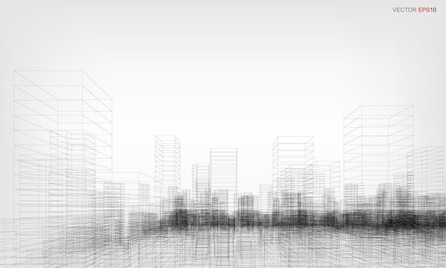 Каркасный городской фон. перспектива 3d визуализации каркасного здания. векторная иллюстрация.