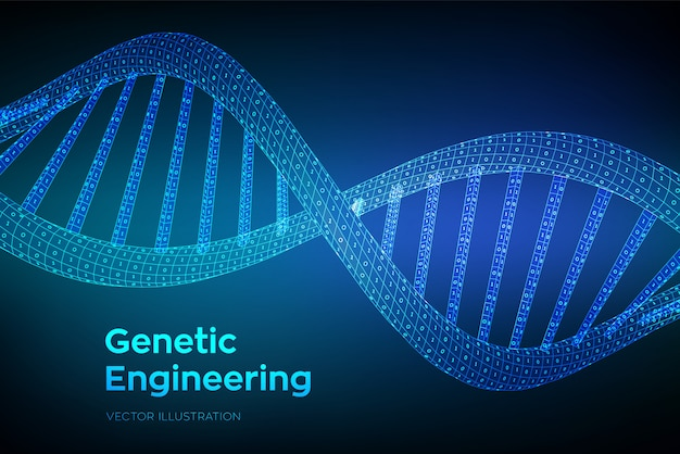 Wireframe dna sequence with binary code,