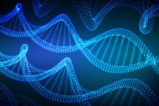 Wireframe dna sequence,