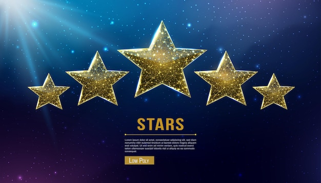 Wireframe five stars, low poly style. success, winner, rating concept. abstract modern 3d vector illustration on dark blue background.