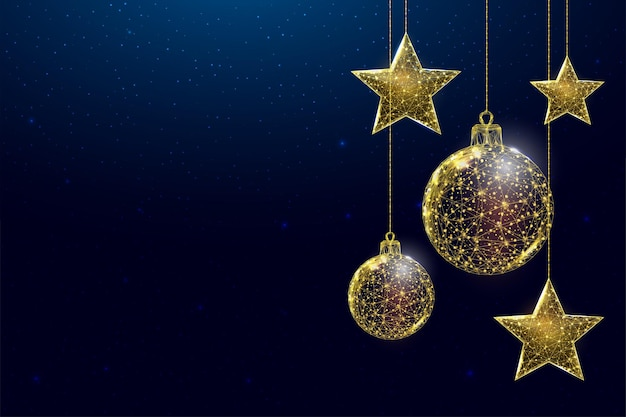Wireframe gold stars and balls, low poly style. banner for the concept of christmas or new year with a place for an inscription. abstract modern 3d vector illustration on blue background.