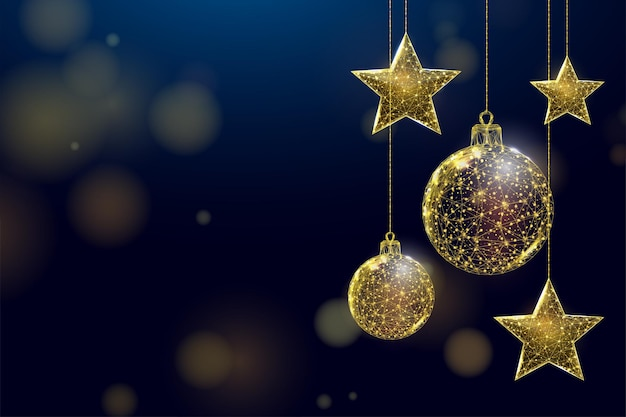 Wireframe gold stars and balls, low poly style. banner for the concept of christmas or new year with a place for an inscription.