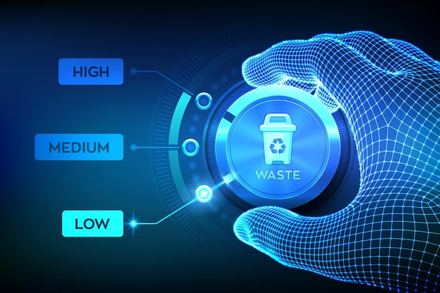 Wireframe hand setting waste level button on lowest position to optimize manufacture production and reduce costs